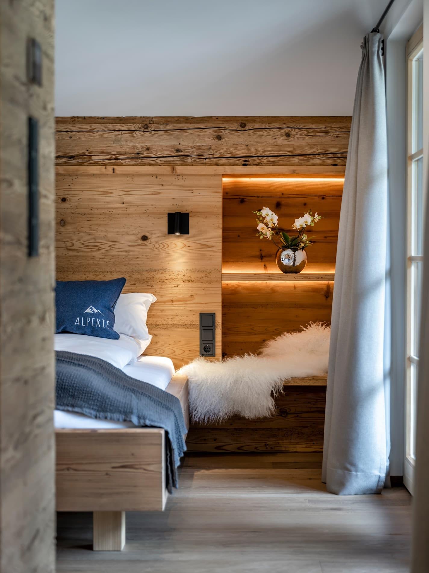 Schlafzimmer Ferienwohnung Gipfelstürmer Ferienhaus Alperie